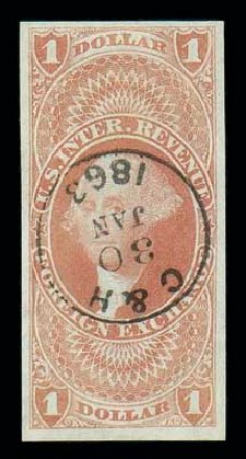 Values of US Stamps Scott R68: 1862 US$1.00 Revenue Foreign Exchange. Matthew Bennett International, Dec 2007, Sale 325, Lot 2611