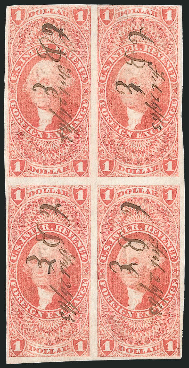 Price of US Stamp Scott Cat. #R68 - 1862 US$1.00 Revenue Foreign Exchange. Robert Siegel Auction Galleries, Dec 2014, Sale 1089, Lot 353
