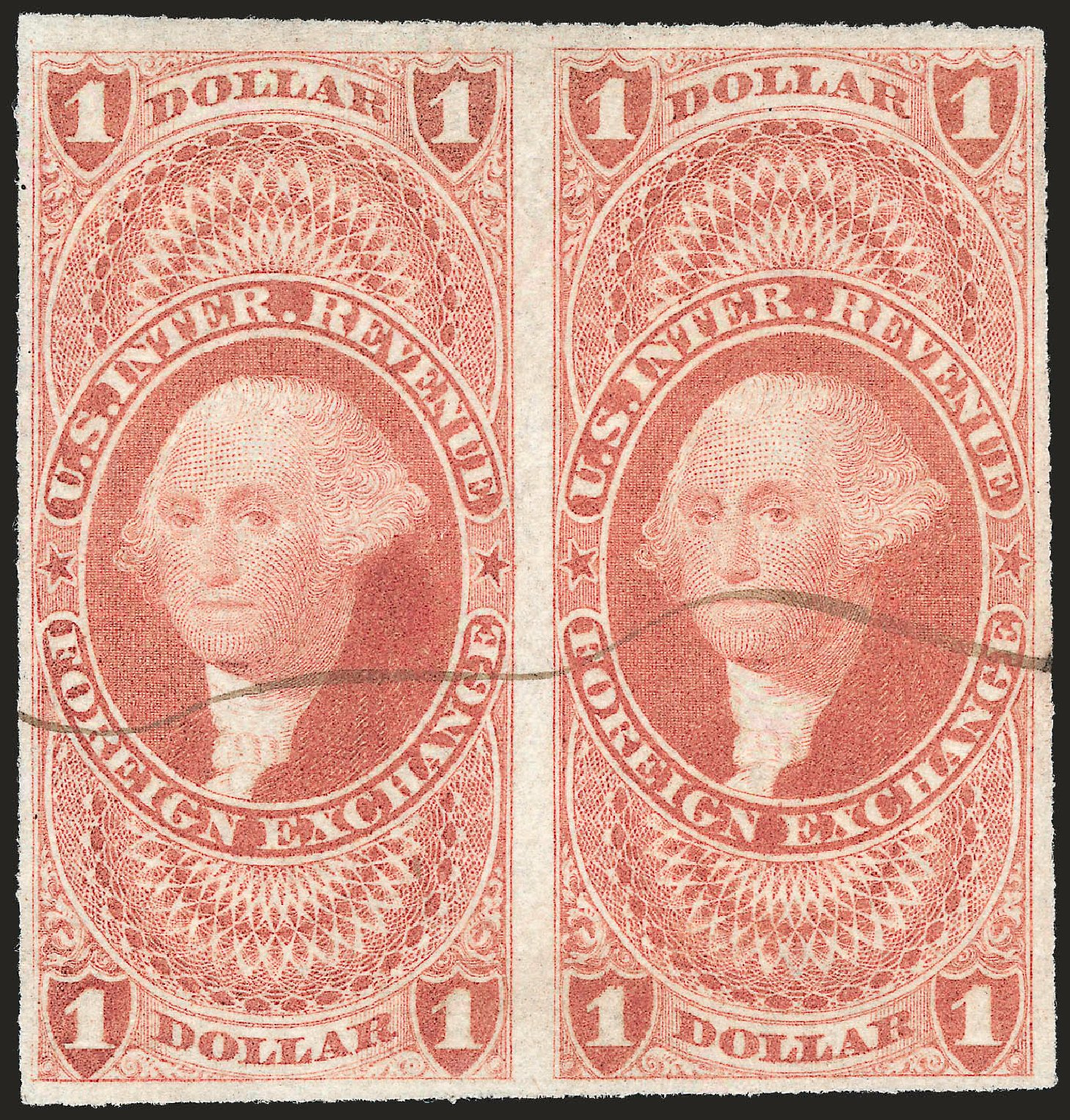 US Stamp Price Scott Catalogue R68: 1862 US$1.00 Revenue Foreign Exchange. Robert Siegel Auction Galleries, Dec 2008, Sale 967, Lot 5233