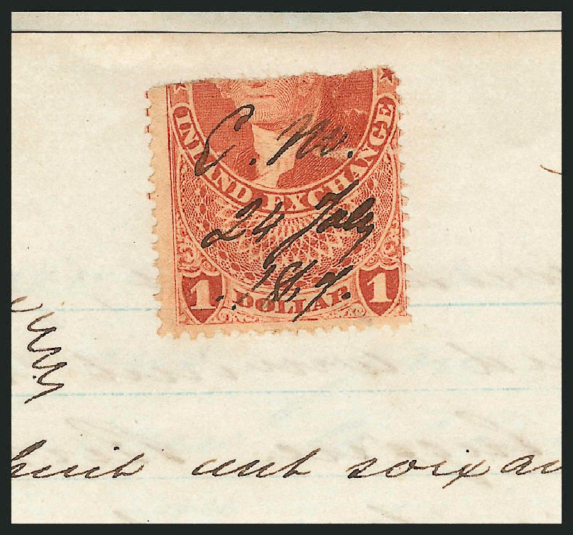 Values of US Stamps Scott Catalogue R69: US$1.00 1862 Revenue Inland Exchange. Robert Siegel Auction Galleries, Mar 2012, Sale 1019, Lot 1018