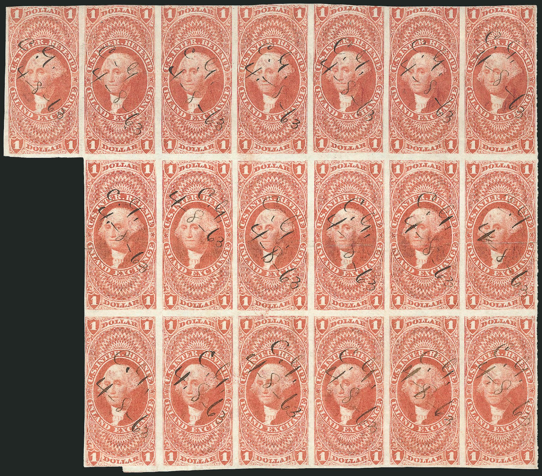 US Stamp Prices Scott R69 - 1862 US$1.00 Revenue Inland Exchange. Robert Siegel Auction Galleries, Dec 2014, Sale 1089, Lot 354