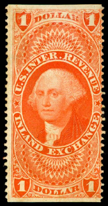 US Stamps Price Scott #R69 - 1862 US$1.00 Revenue Inland Exchange. Daniel Kelleher Auctions, Jun 2015, Sale 670, Lot 16