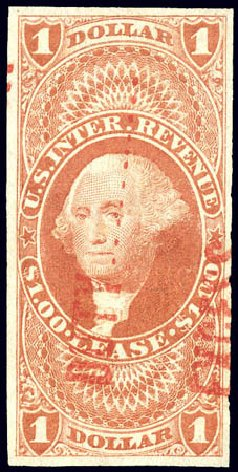 US Stamps Value Scott Catalogue #R70: US$1.00 1862 Revenue Lease. Matthew Bennett International, Dec 2008, Sale 330, Lot 1991