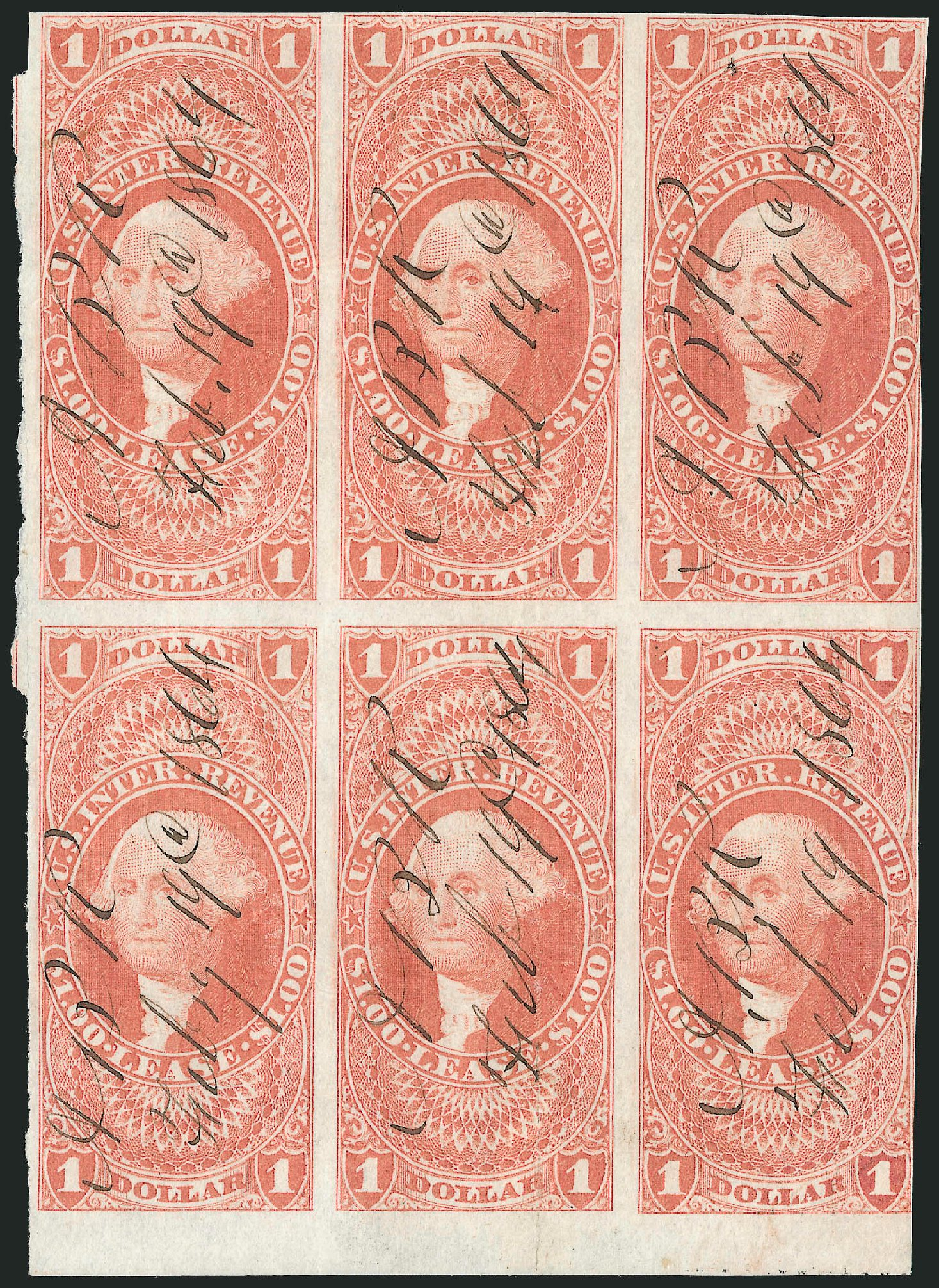 Value of US Stamp Scott Cat. #R70: 1862 US$1.00 Revenue Lease. Robert Siegel Auction Galleries, Dec 2014, Sale 1089, Lot 355