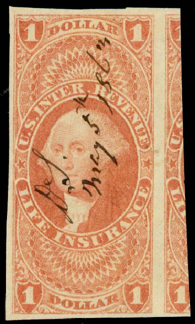 US Stamps Prices Scott Cat. R71 - 1862 US$1.00 Revenue Life Insurance. Daniel Kelleher Auctions, May 2015, Sale 665, Lot 98