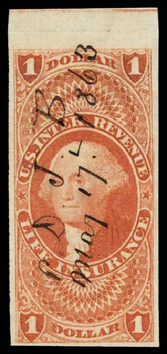 US Stamp Values Scott Cat. R71: US$1.00 1862 Revenue Life Insurance. Daniel Kelleher Auctions, May 2015, Sale 665, Lot 99