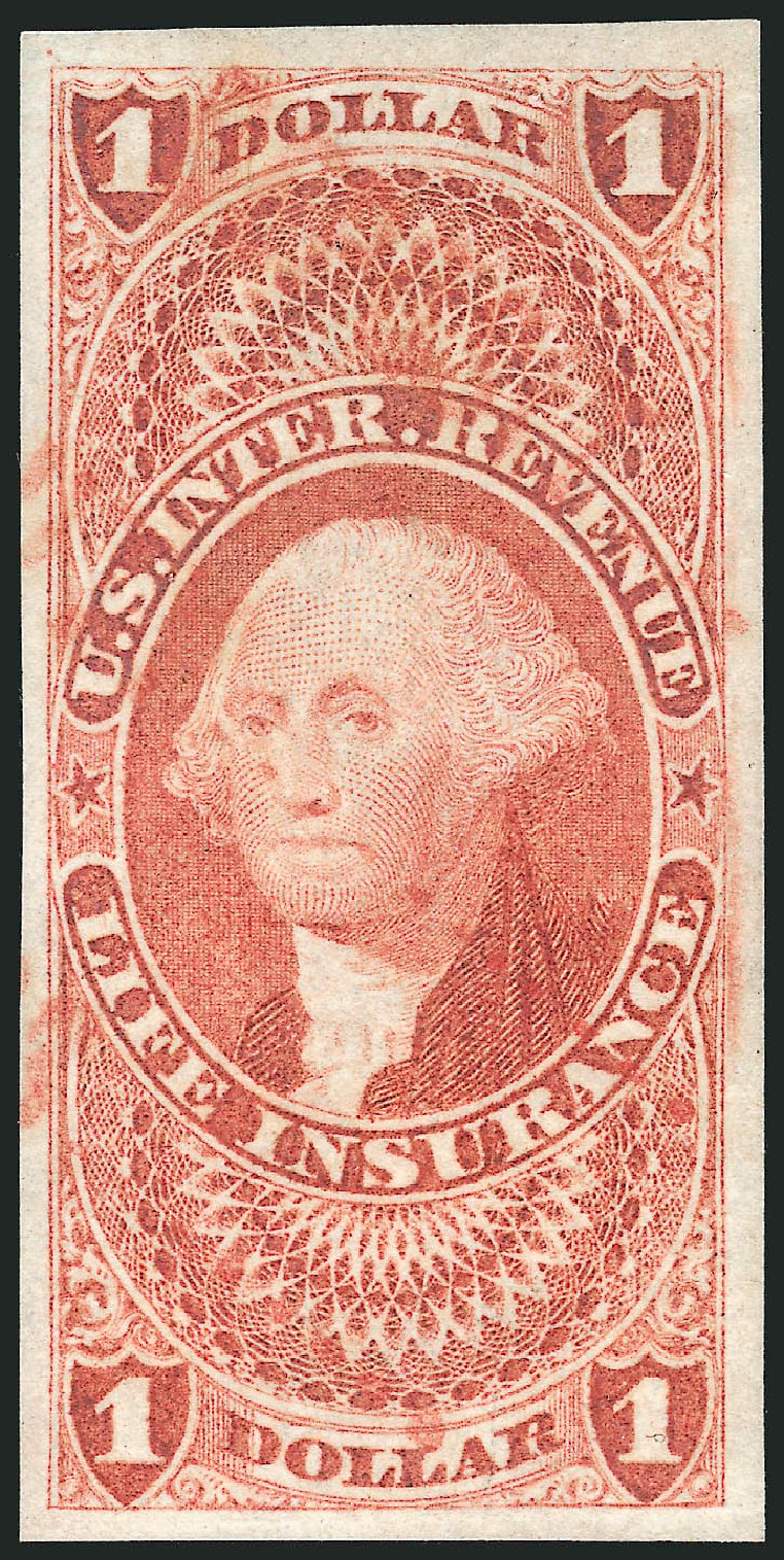 US Stamps Values Scott Cat. # R71: 1862 US$1.00 Revenue Life Insurance. Robert Siegel Auction Galleries, Mar 2014, Sale 1066, Lot 20