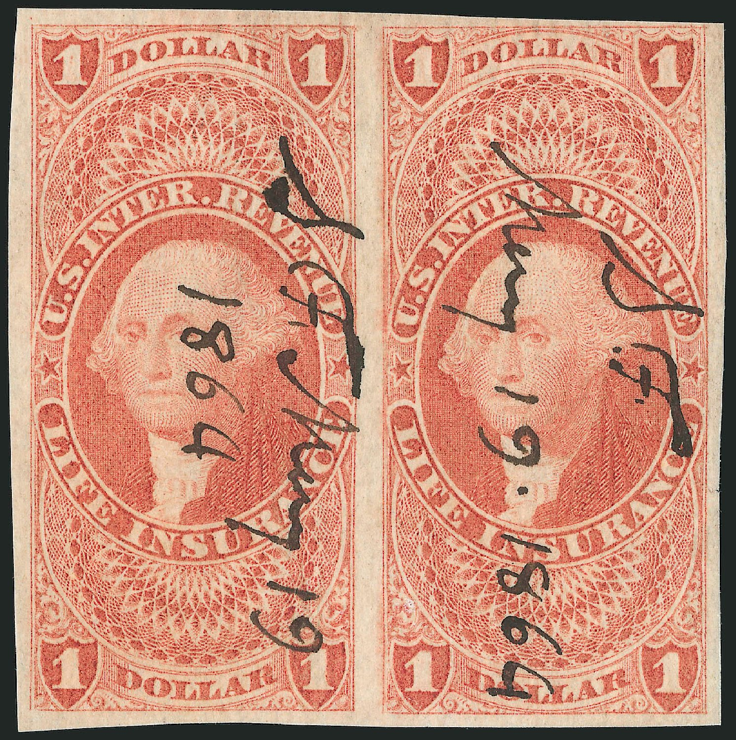 US Stamp Price Scott Catalog #R71: US$1.00 1862 Revenue Life Insurance. Robert Siegel Auction Galleries, Dec 2014, Sale 1089, Lot 234