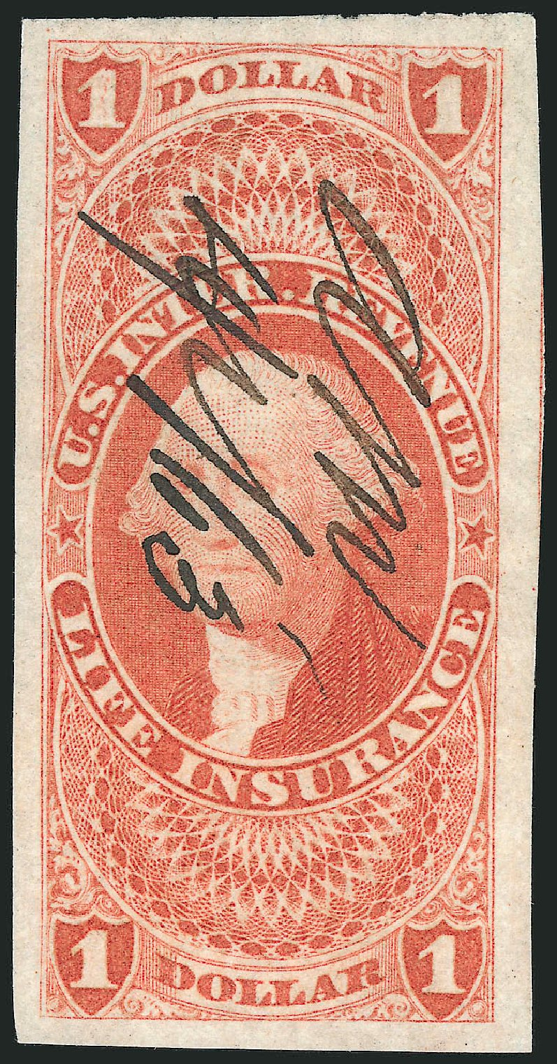 US Stamps Values Scott R71: US$1.00 1862 Revenue Life Insurance. Robert Siegel Auction Galleries, Dec 2014, Sale 1089, Lot 233