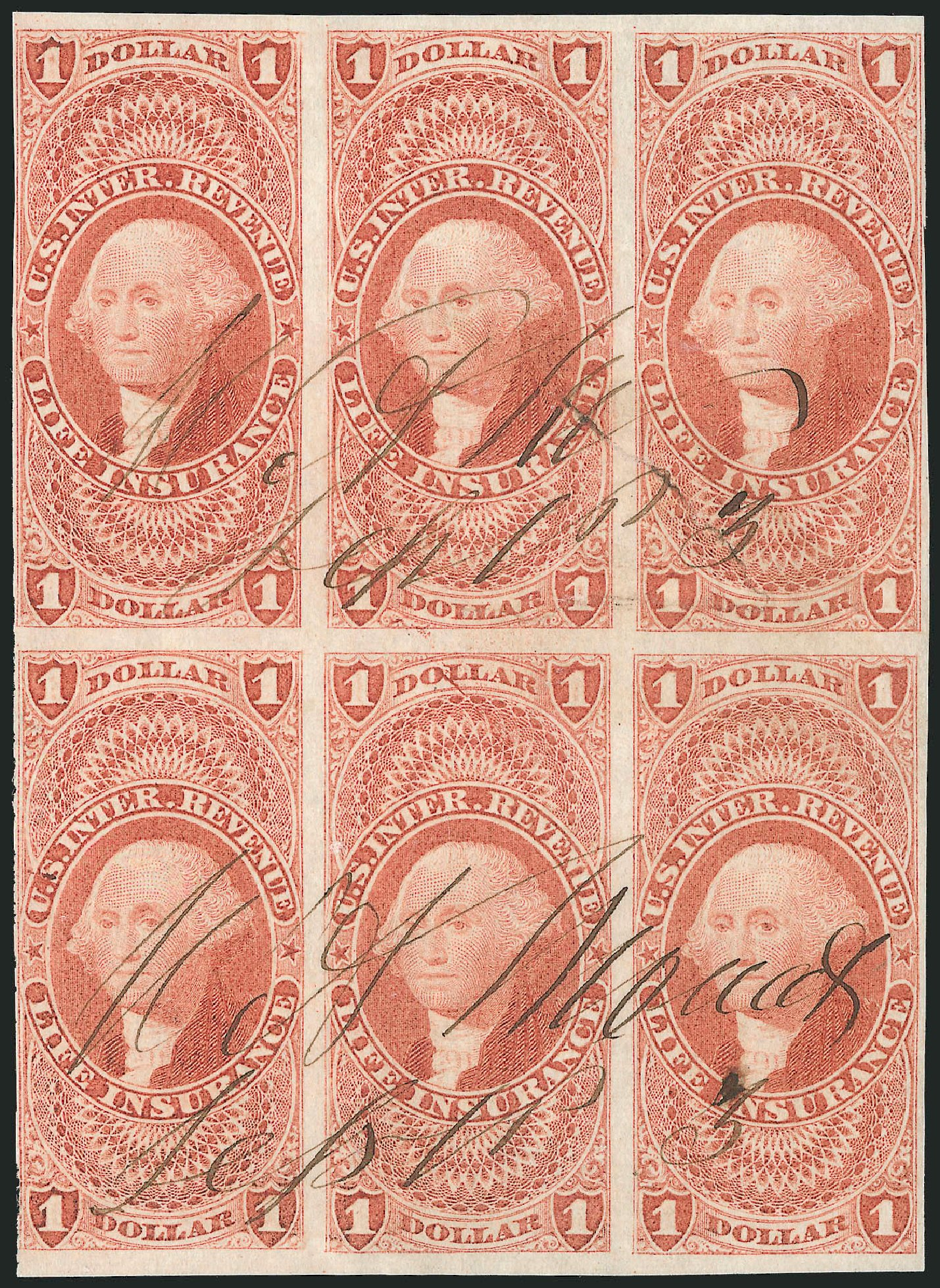 Costs of US Stamp Scott Catalog #R71 - US$1.00 1862 Revenue Life Insurance. Robert Siegel Auction Galleries, Dec 2014, Sale 1089, Lot 356
