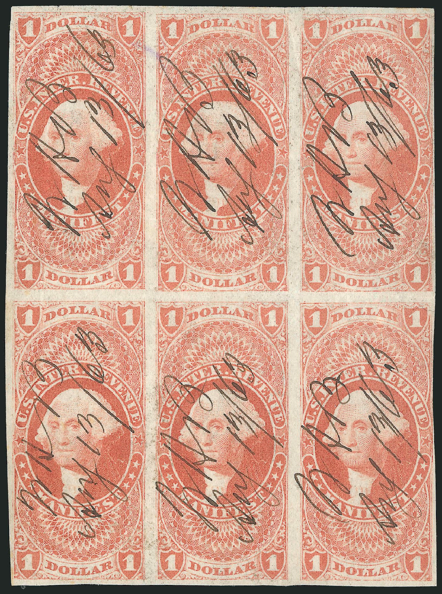 US Stamps Prices Scott Catalogue #R72 - 1862 US$1.00 Revenue Manifest. Robert Siegel Auction Galleries, Dec 2014, Sale 1089, Lot 357