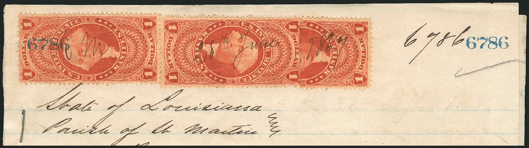 Price of US Stamps Scott R72 - US$1.00 1862 Revenue Manifest. Robert Siegel Auction Galleries, Mar 2012, Sale 1019, Lot 1019