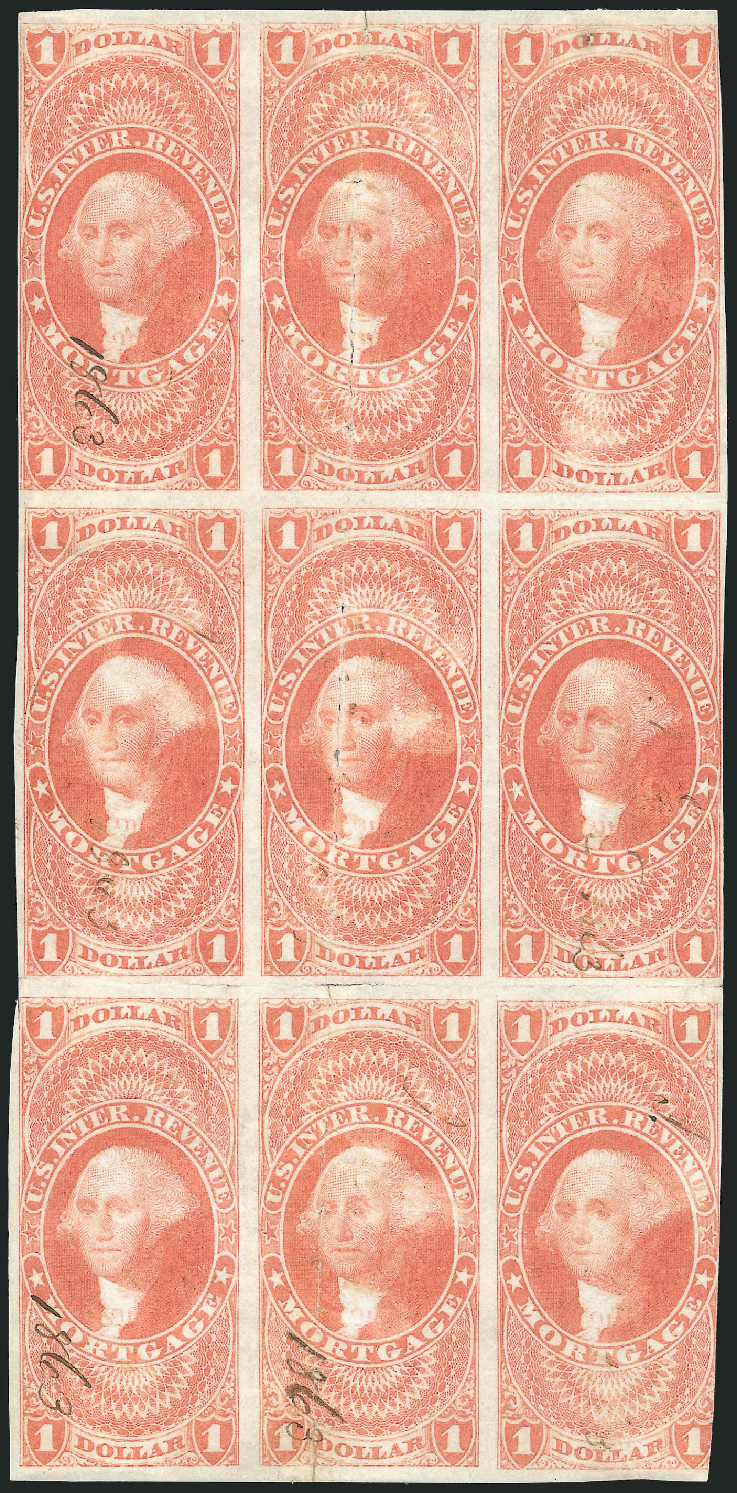 US Stamp Values Scott Catalog # R73 - US$1.00 1862 Revenue Mortgage. Robert Siegel Auction Galleries, Dec 2014, Sale 1089, Lot 358