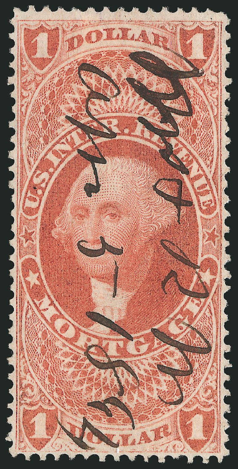 Values of US Stamp Scott Catalog #R73: 1862 US$1.00 Revenue Mortgage. Robert Siegel Auction Galleries, Mar 2014, Sale 1066, Lot 69