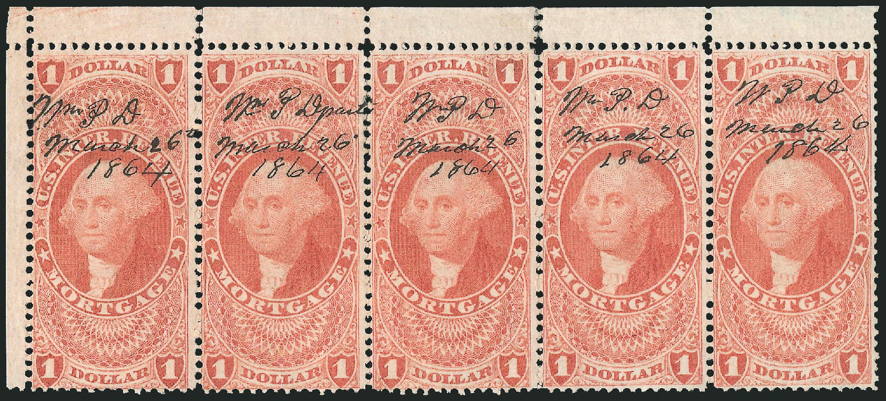 Prices of US Stamp Scott Catalog #R73: 1862 US$1.00 Revenue Mortgage. Robert Siegel Auction Galleries, Dec 2014, Sale 1089, Lot 429