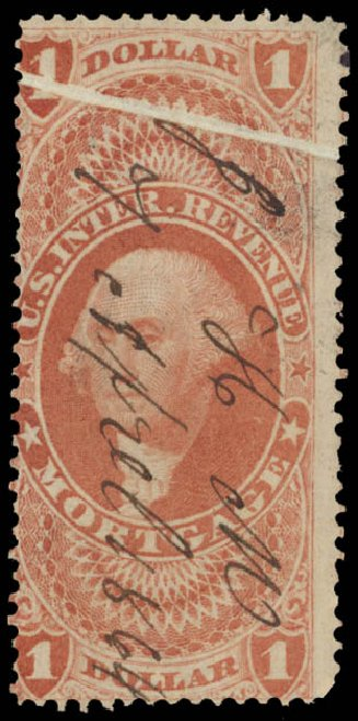 Prices of US Stamp Scott Cat. R73: 1862 US$1.00 Revenue Mortgage. Daniel Kelleher Auctions, May 2015, Sale 665, Lot 100