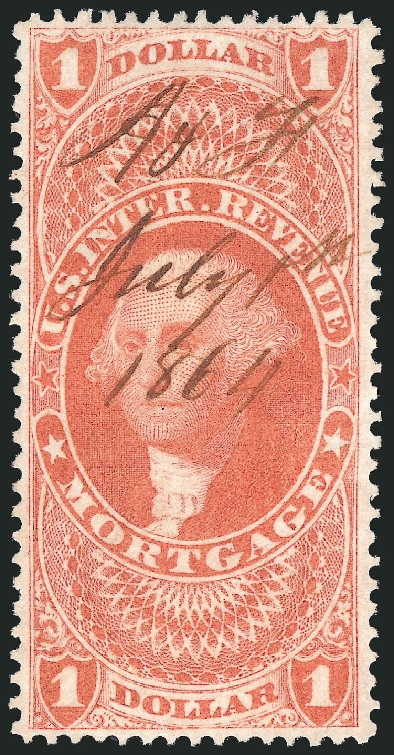 US Stamps Value Scott Catalogue R73 - 1862 US$1.00 Revenue Mortgage. Robert Siegel Auction Galleries, Nov 2011, Sale 1015, Lot 70