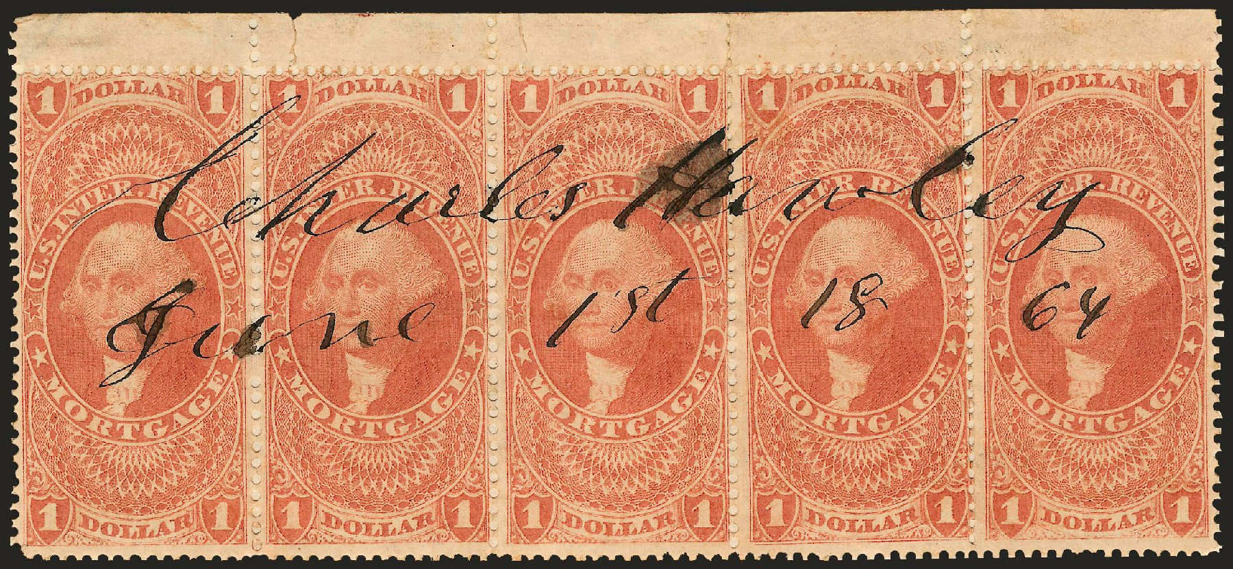 US Stamp Price Scott Catalog #R73: US$1.00 1862 Revenue Mortgage. Robert Siegel Auction Galleries, Jun 2009, Sale 975, Lot 2294