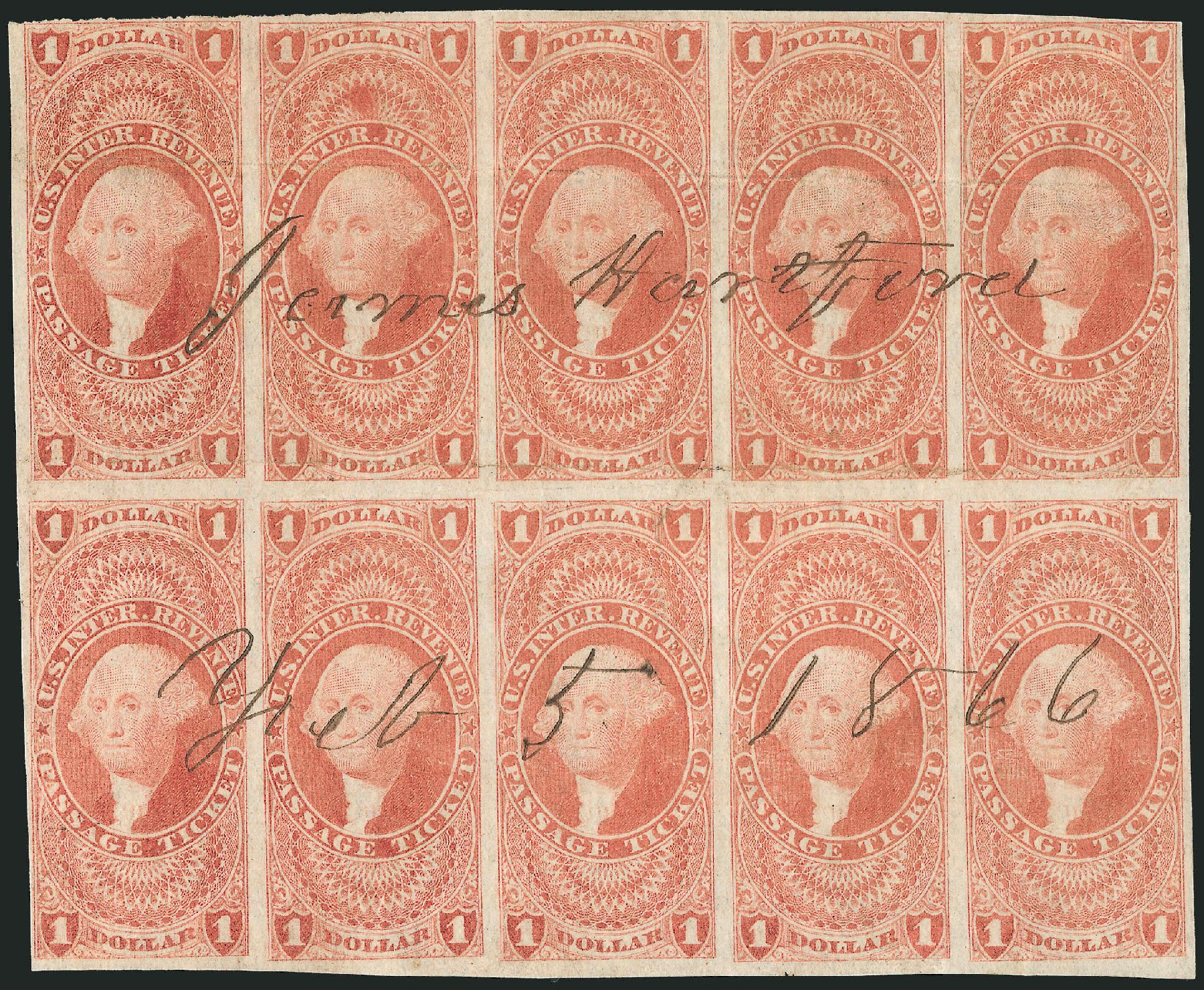 Values of US Stamps Scott # R74: US$1.00 1862 Revenue Passage Ticket. Robert Siegel Auction Galleries, Dec 2014, Sale 1089, Lot 359