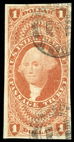 Price of US Stamp Scott Catalogue #R74: US$1.00 1862 Revenue Passage Ticket. Matthew Bennett International, Feb 2012, Sale 340, Lot 620