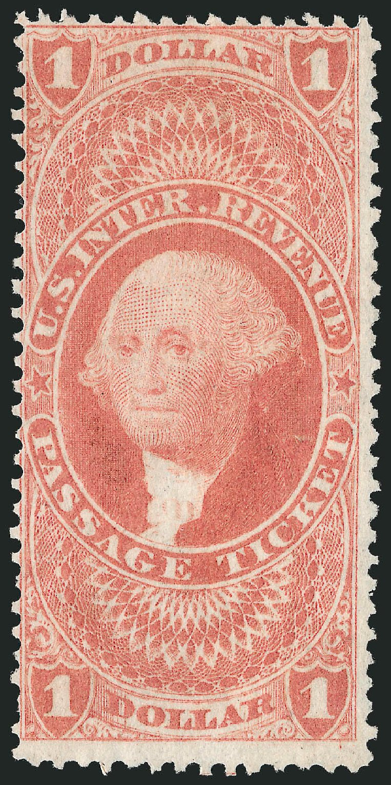 US Stamp Values Scott #R74 - US$1.00 1862 Revenue Passage Ticket. Robert Siegel Auction Galleries, Oct 2012, Sale 1031, Lot 1030