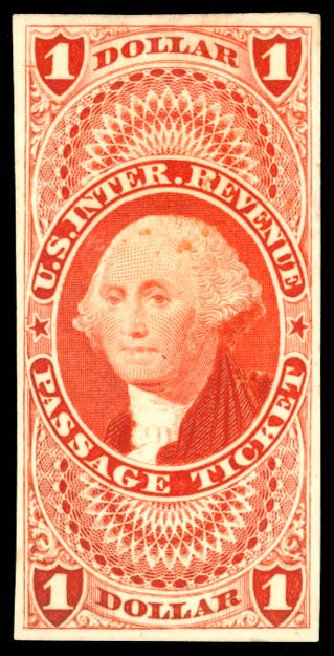 US Stamps Prices Scott Cat. # R74: 1862 US$1.00 Revenue Passage Ticket. Daniel Kelleher Auctions, May 2015, Sale 665, Lot 101