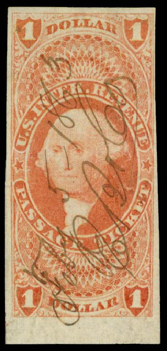 US Stamp Price Scott Catalog R74 - US$1.00 1862 Revenue Passage Ticket. Daniel Kelleher Auctions, May 2015, Sale 665, Lot 102