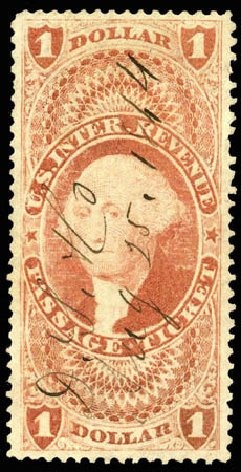 US Stamps Price Scott R74 - 1862 US$1.00 Revenue Passage Ticket. Matthew Bennett International, Apr 2008, Sale 326, Lot 816