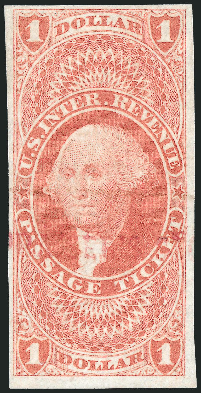 Cost of US Stamp Scott Catalogue R74 - US$1.00 1862 Revenue Passage Ticket. Robert Siegel Auction Galleries, Nov 2011, Sale 1015, Lot 16