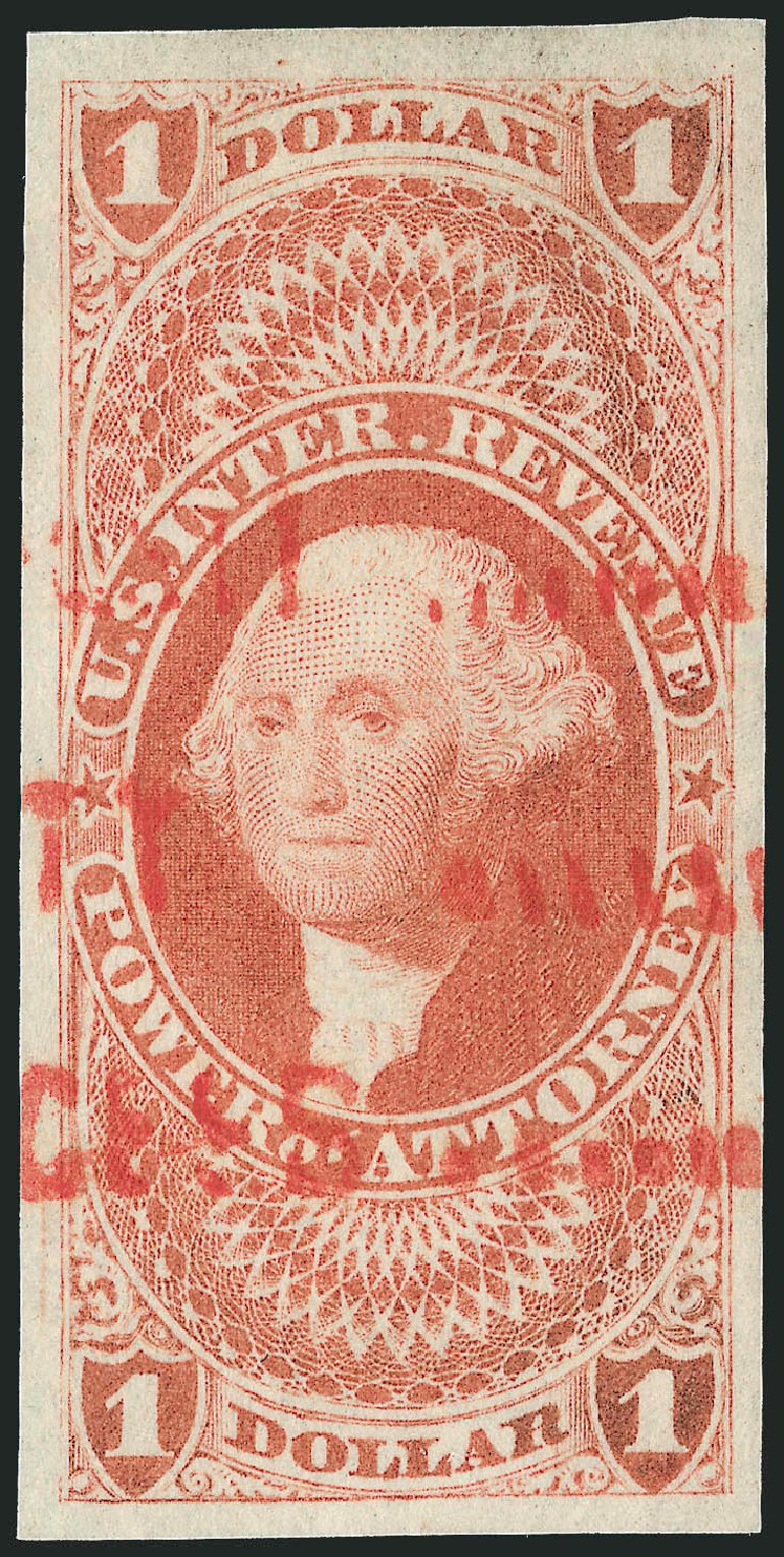 US Stamps Price Scott # R75: 1862 US$1.00 Revenue Power of Attorney. Robert Siegel Auction Galleries, Dec 2009, Sale 978, Lot 1160