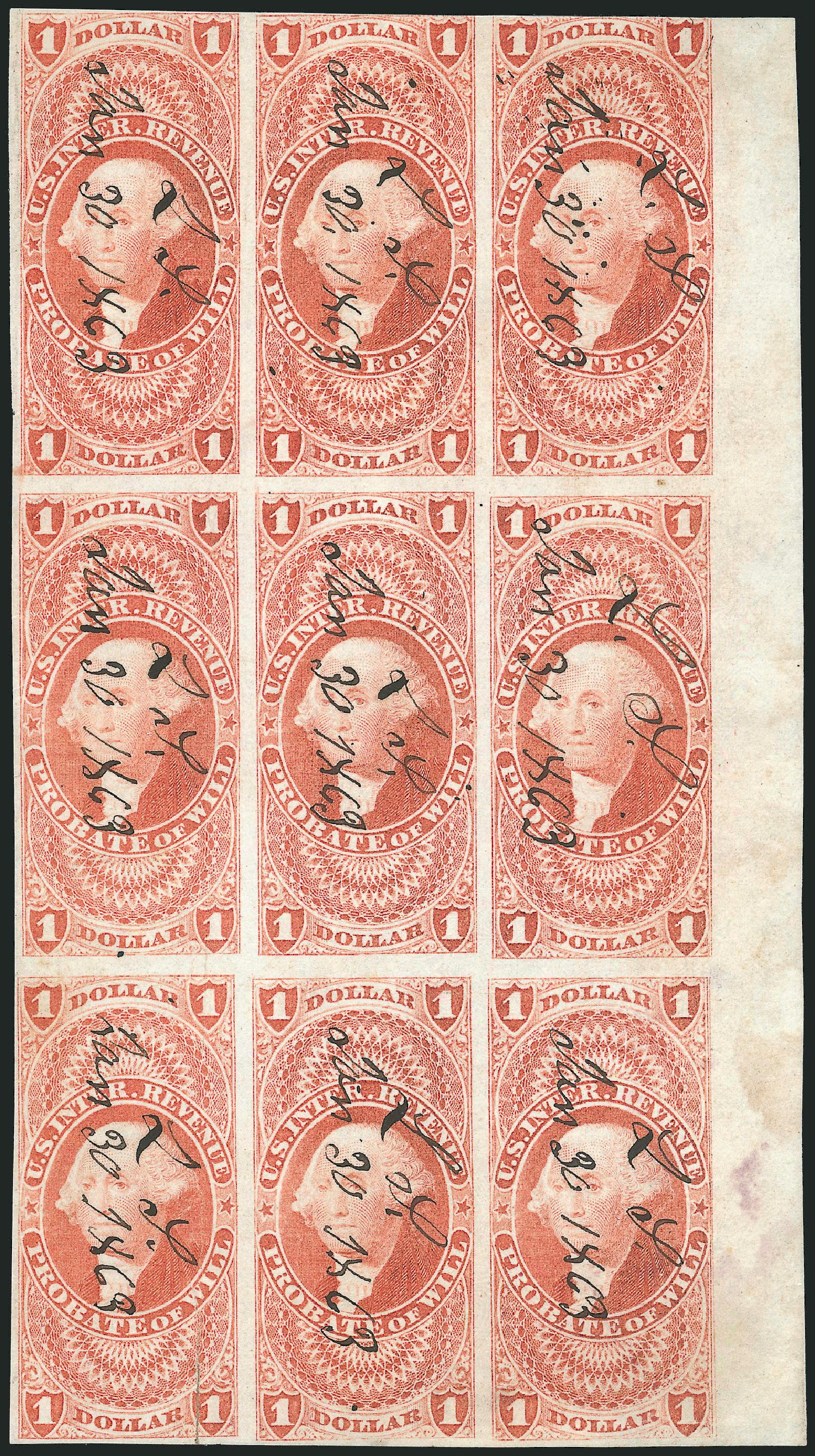 Prices of US Stamps Scott Catalog # R76 - 1862 US$1.00 Revenue Probate of Will. Robert Siegel Auction Galleries, Dec 2014, Sale 1089, Lot 360