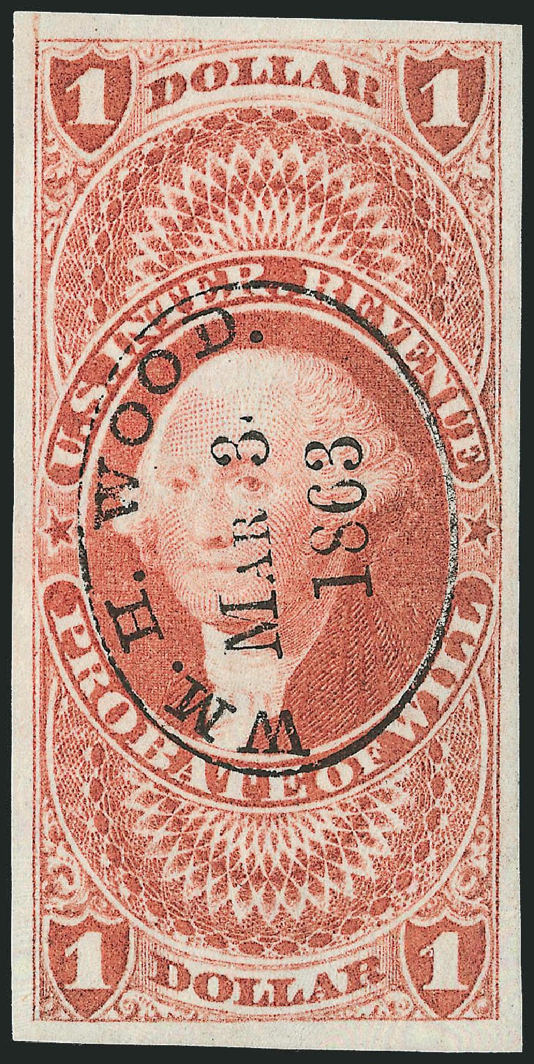 US Stamps Prices Scott Catalog R76: US$1.00 1862 Revenue Probate of Will. Robert Siegel Auction Galleries, Dec 2009, Sale 978, Lot 1161