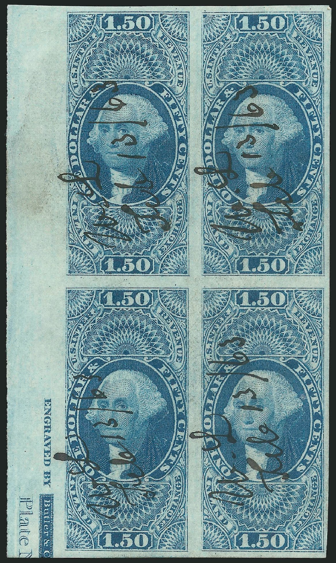 Costs of US Stamp Scott Catalog R78 - US$1.50 1862 Revenue Inland Exchange. Robert Siegel Auction Galleries, Dec 2014, Sale 1089, Lot 362