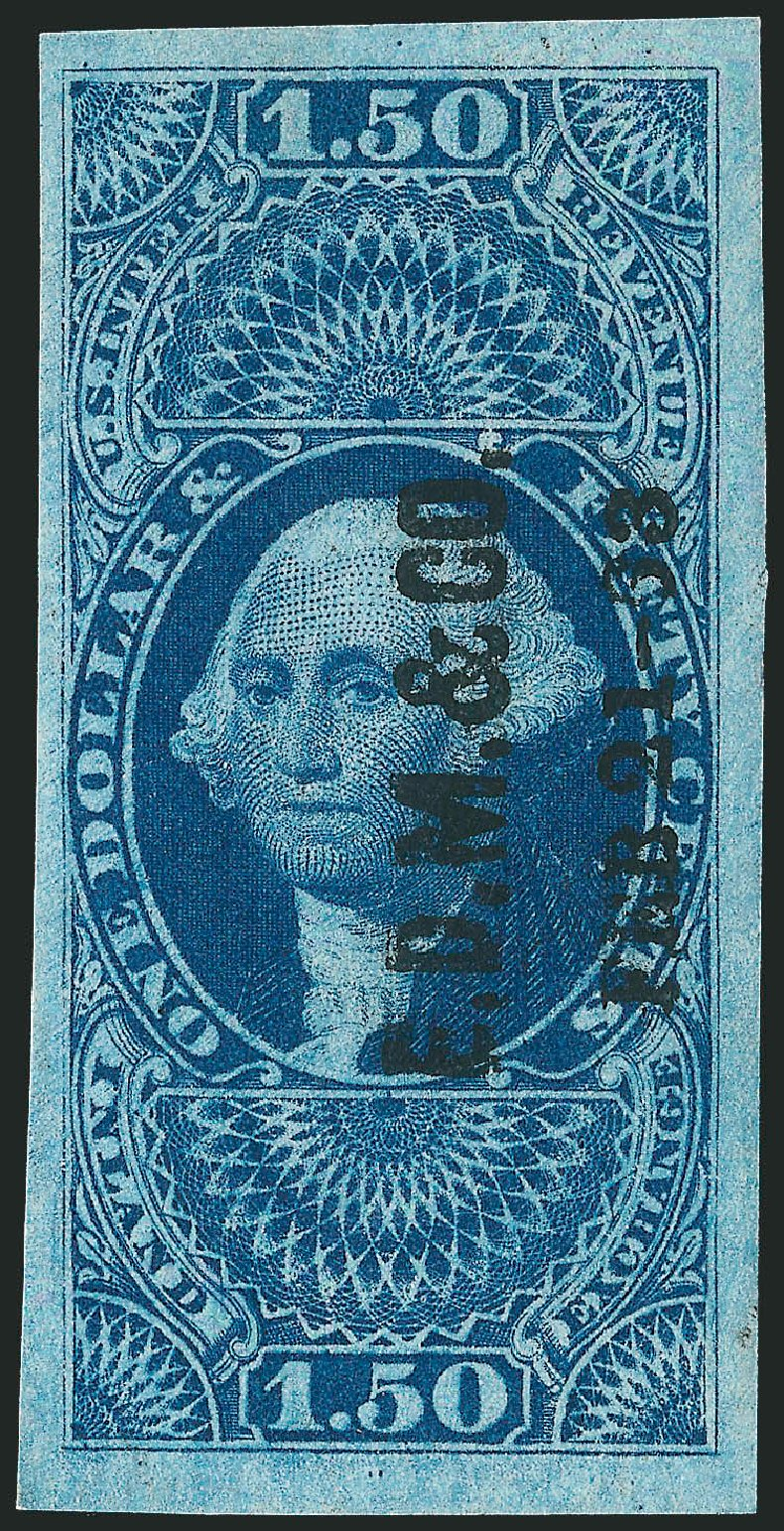 US Stamp Values Scott Catalog # R78: US$1.50 1862 Revenue Inland Exchange. Robert Siegel Auction Galleries, Dec 2009, Sale 978, Lot 1162