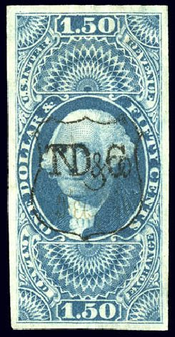 Values of US Stamp Scott Cat. #R78 - 1862 US$1.50 Revenue Inland Exchange. Matthew Bennett International, Dec 2008, Sale 330, Lot 1993