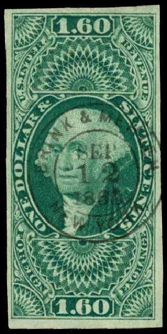 US Stamp Prices Scott Catalog R79: 1863 US$1.60 Revenue Foreign Exchange. Daniel Kelleher Auctions, Jun 2015, Sale 670, Lot 18