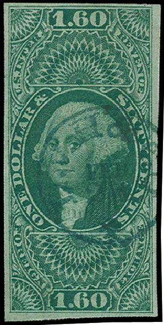 Value of US Stamp Scott Catalog #R79: US$1.60 1863 Revenue Foreign Exchange. H.R. Harmer, Jun 2015, Sale 3007, Lot 3539