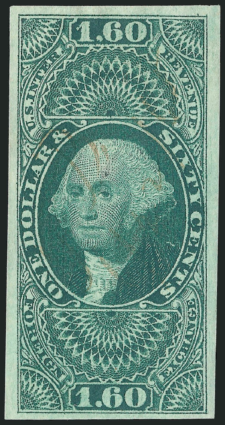 Prices of US Stamps Scott Catalogue R79: 1863 US$1.60 Revenue Foreign Exchange. Robert Siegel Auction Galleries, Oct 2012, Sale 1031, Lot 1011