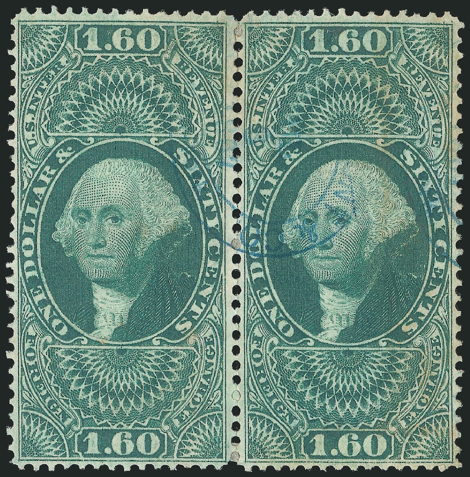 US Stamp Price Scott Catalogue R79 - US$1.60 1863 Revenue Foreign Exchange. Robert Siegel Auction Galleries, Dec 2014, Sale 1089, Lot 431