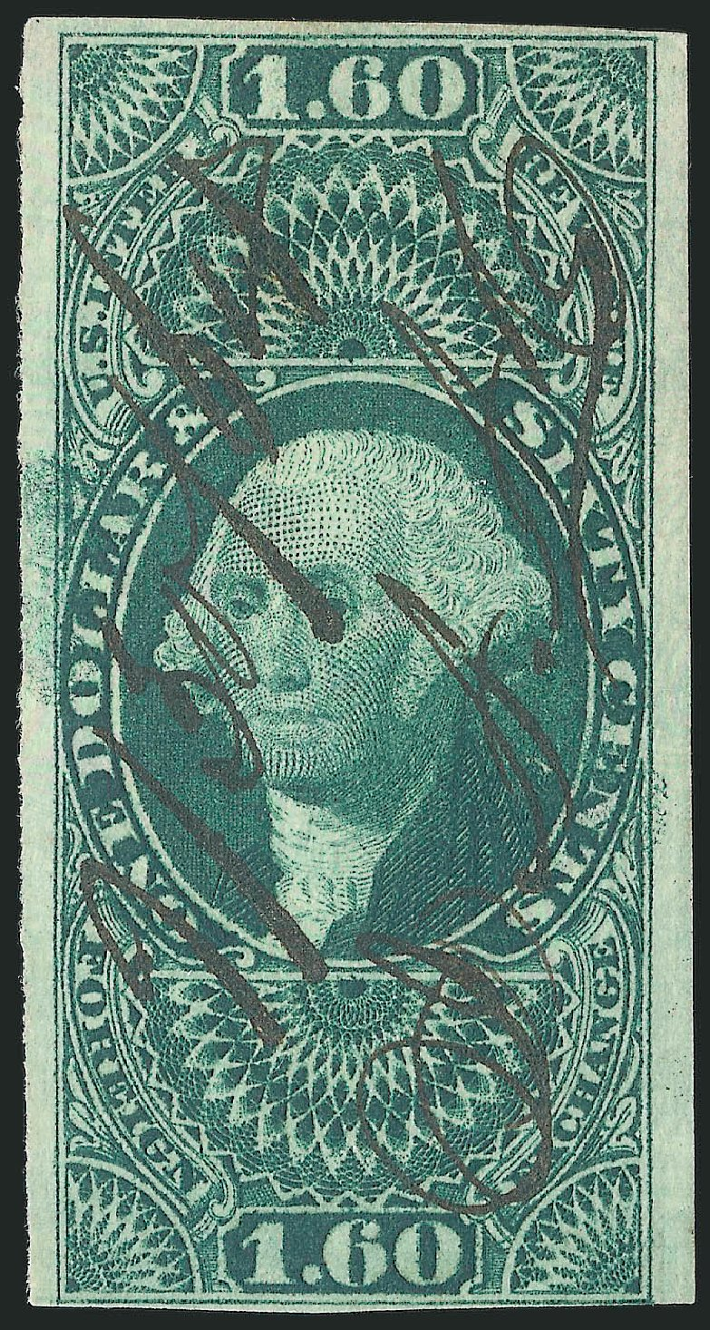 US Stamps Value Scott # R79: 1863 US$1.60 Revenue Foreign Exchange. Robert Siegel Auction Galleries, Mar 2014, Sale 1067, Lot 534