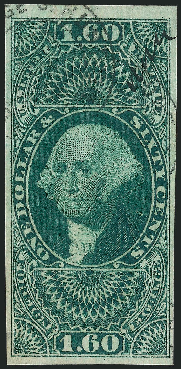 Costs of US Stamp Scott Cat. R79 - 1863 US$1.60 Revenue Foreign Exchange. Robert Siegel Auction Galleries, Nov 2013, Sale 1061, Lot 4282