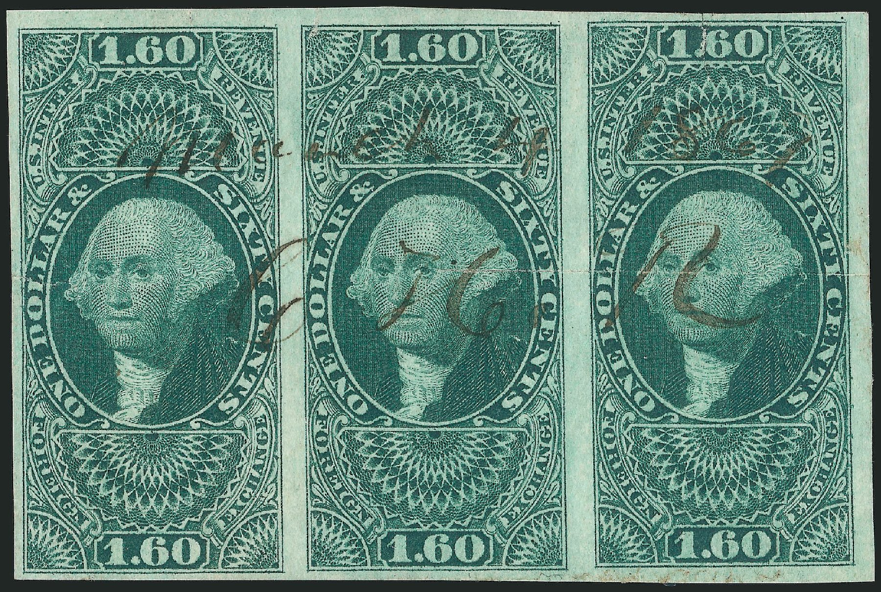 Costs of US Stamp Scott Cat. #R79: 1863 US$1.60 Revenue Foreign Exchange. Robert Siegel Auction Galleries, Dec 2014, Sale 1089, Lot 363
