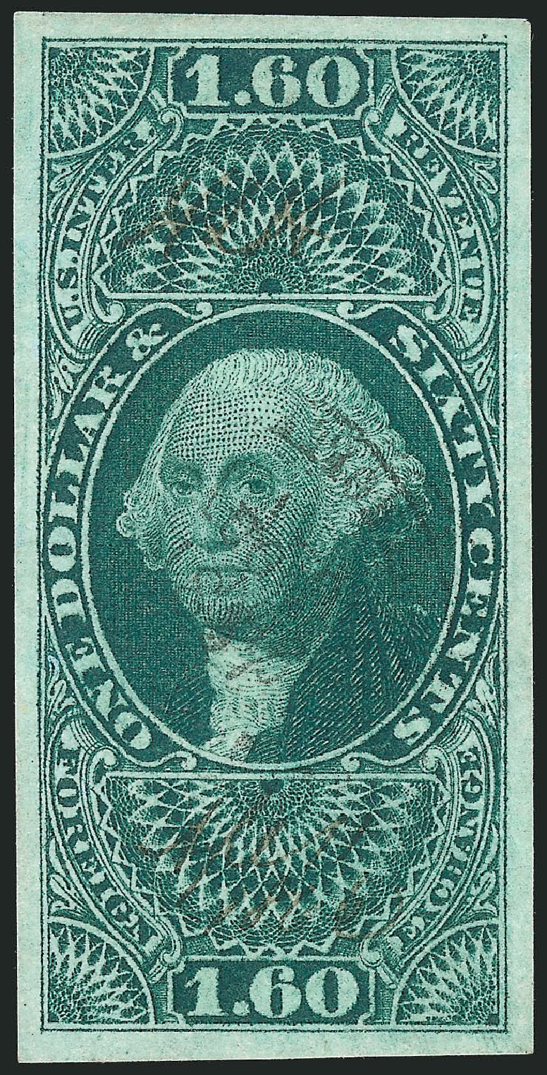 Cost of US Stamps Scott Catalogue #R79 - US$1.60 1863 Revenue Foreign Exchange. Robert Siegel Auction Galleries, Dec 2014, Sale 1089, Lot 236