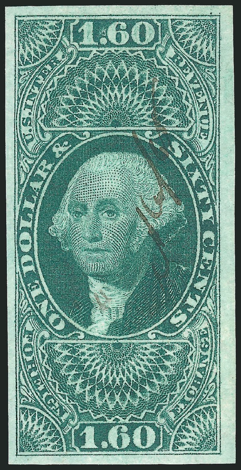 Costs of US Stamps Scott Catalogue # R79: US$1.60 1863 Revenue Foreign Exchange. Robert Siegel Auction Galleries, Apr 2015, Sale 1096, Lot 966