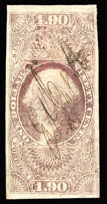 US Stamp Values Scott Catalog R80: 1863 US$1.90 Revenue Foreign Exchange. Cherrystone Auctions, Jun 2011, Sale 201106, Lot 238