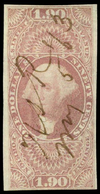 Cost of US Stamp Scott R80: 1863 US$1.90 Revenue Foreign Exchange. Daniel Kelleher Auctions, Jun 2015, Sale 670, Lot 19
