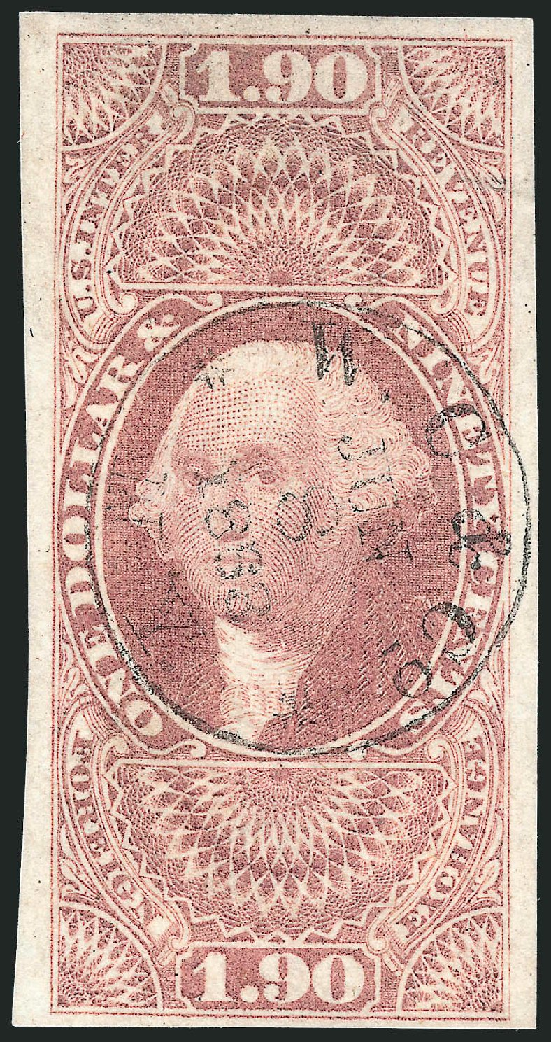 Values of US Stamp Scott # R80 - 1863 US$1.90 Revenue Foreign Exchange. Robert Siegel Auction Galleries, Nov 2011, Sale 1015, Lot 19