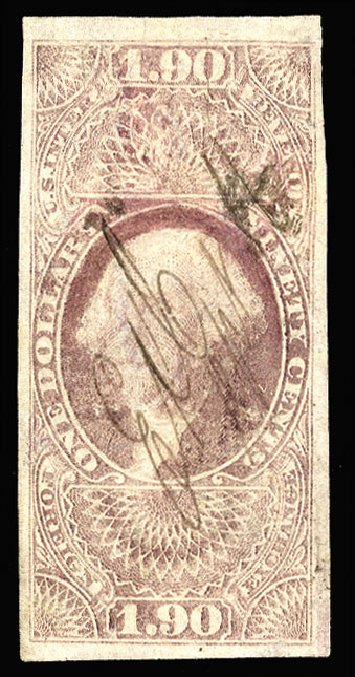 US Stamp Value Scott Catalogue R80: US$1.90 1863 Revenue Foreign Exchange. Cherrystone Auctions, Nov 2013, Sale 201311, Lot 200