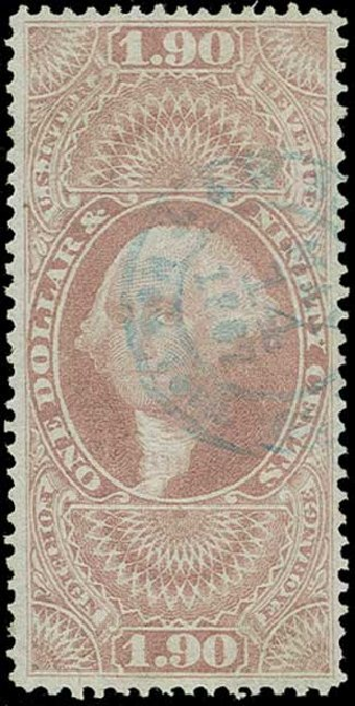Costs of US Stamp Scott Cat. #R80: 1863 US$1.90 Revenue Foreign Exchange. H.R. Harmer, Jun 2015, Sale 3007, Lot 3540