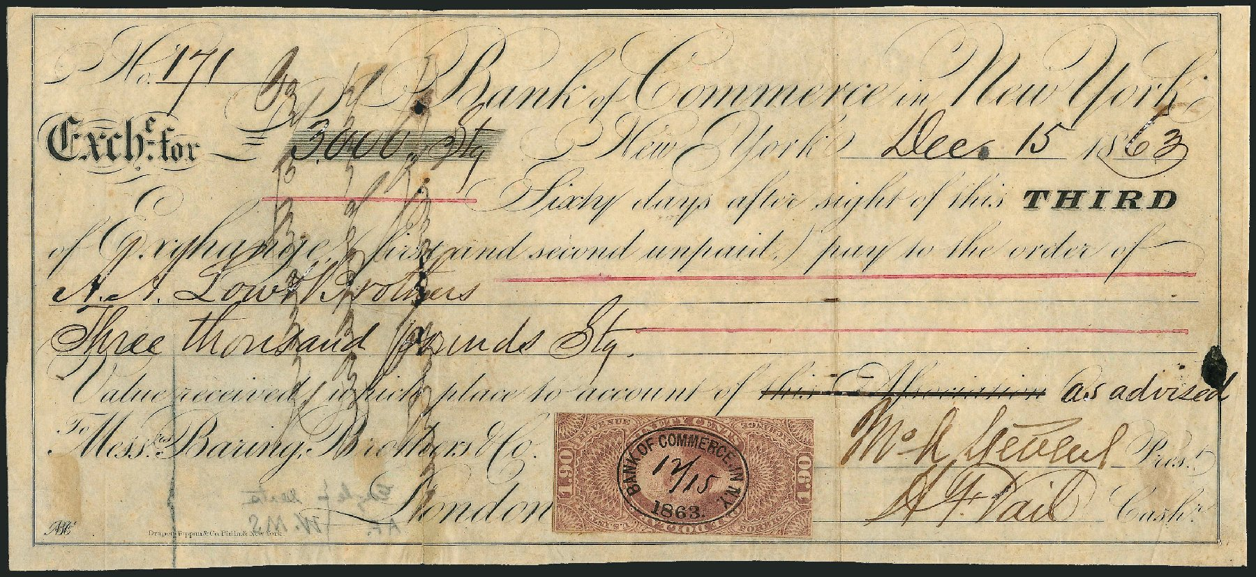 US Stamps Value Scott Catalog # R80: 1863 US$1.90 Revenue Foreign Exchange. Robert Siegel Auction Galleries, Dec 2014, Sale 1089, Lot 240